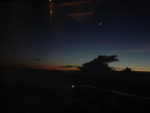 黄昏の三日月